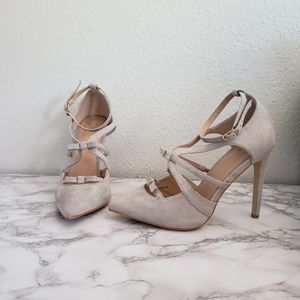Journey Collection Darion Gray Bow Strappy Heels